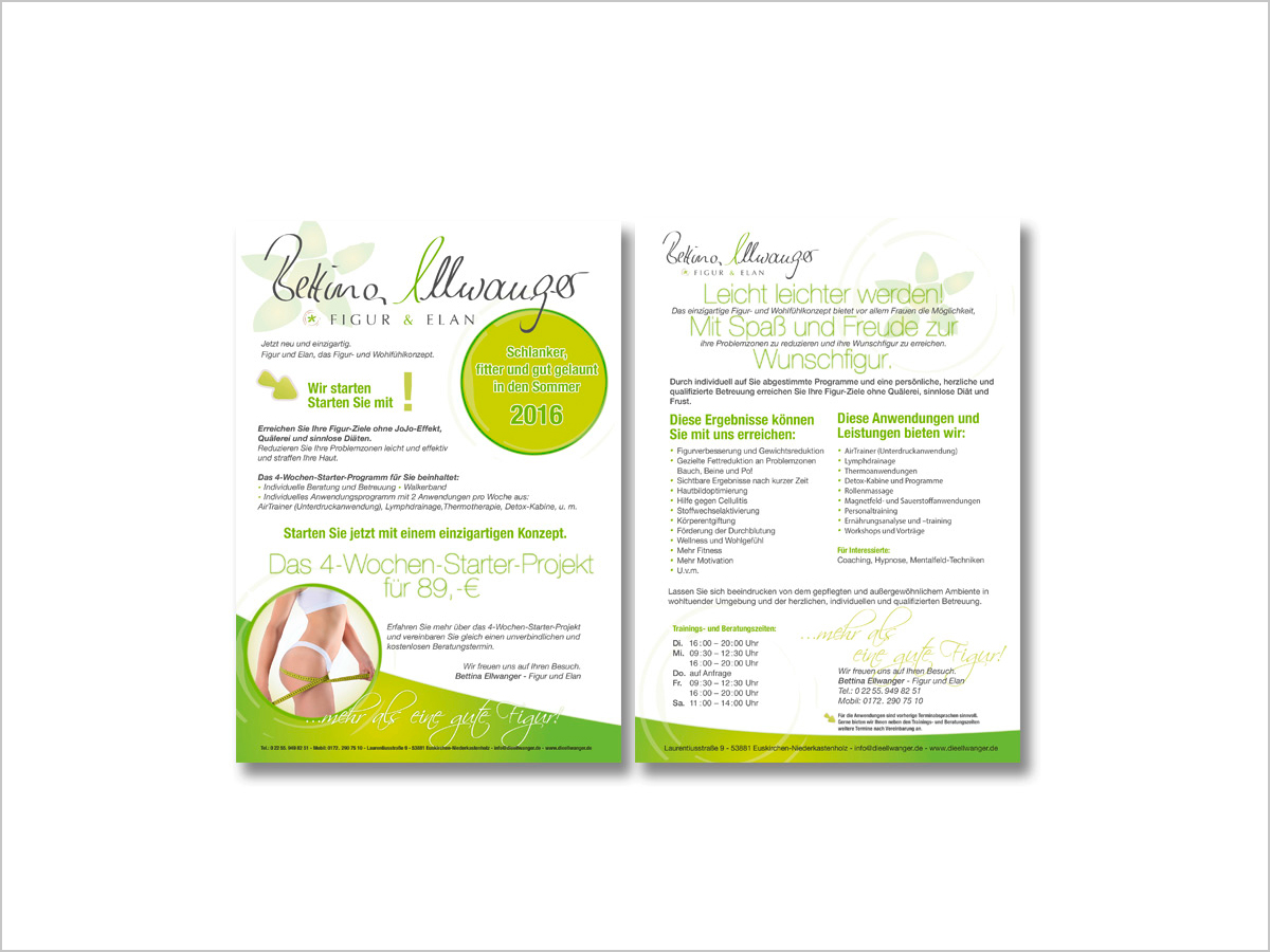Grafikdesign | Flyer | Bettina Ellwanger - Figur & Elan | © debeuf grafikdesign