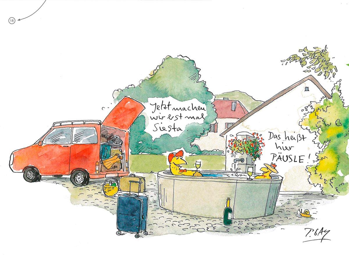 Cartoonist Peter Gaymann hat die Ilustrationen zu der Tourismusbroschüre für Pfaffenweiler beigetragen