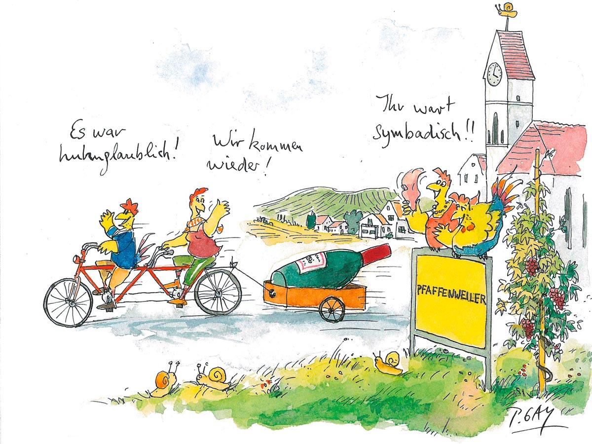 Tourismusbroschüre mit Illustrationen von Cartoonist Peter Gaymann - Pfaffenweiler bei Freiburg im Breisgau