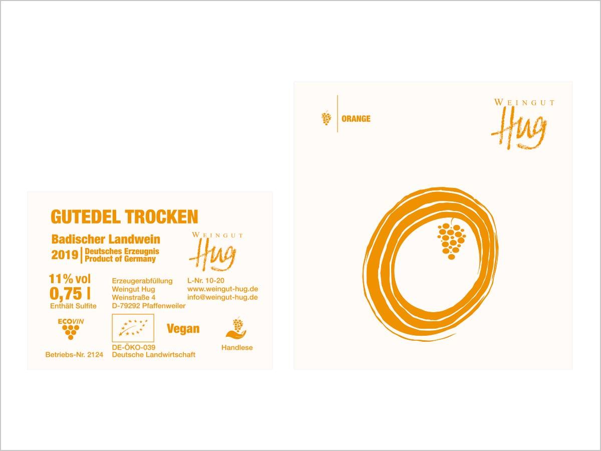Grafikdesign | Orange - Gutedel trocken | Weingut Hug | Freiburg im Breisgau