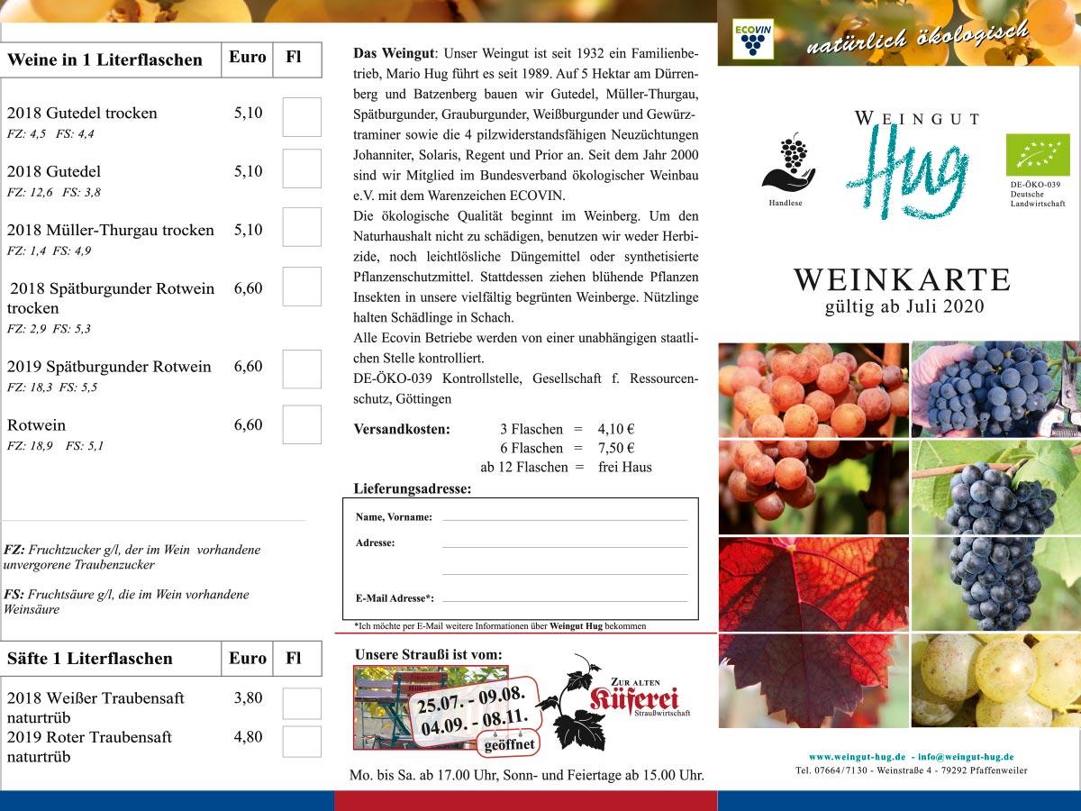 Grafikdesign | Weinkarte | Weingut Hug | © debeuf grafikdesign