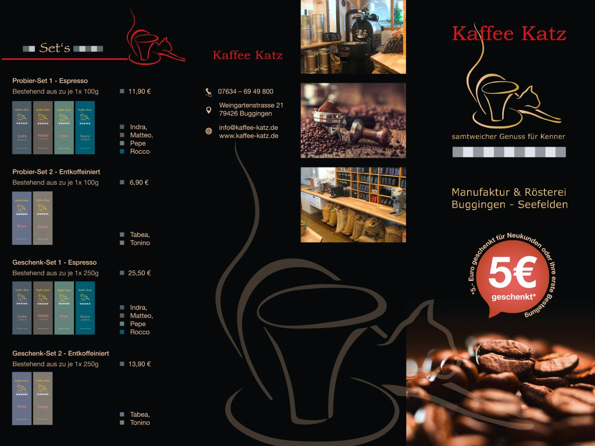 Design & Print - Buggingen - Flyerdesign - Werbeflyer - Kaffee Katz