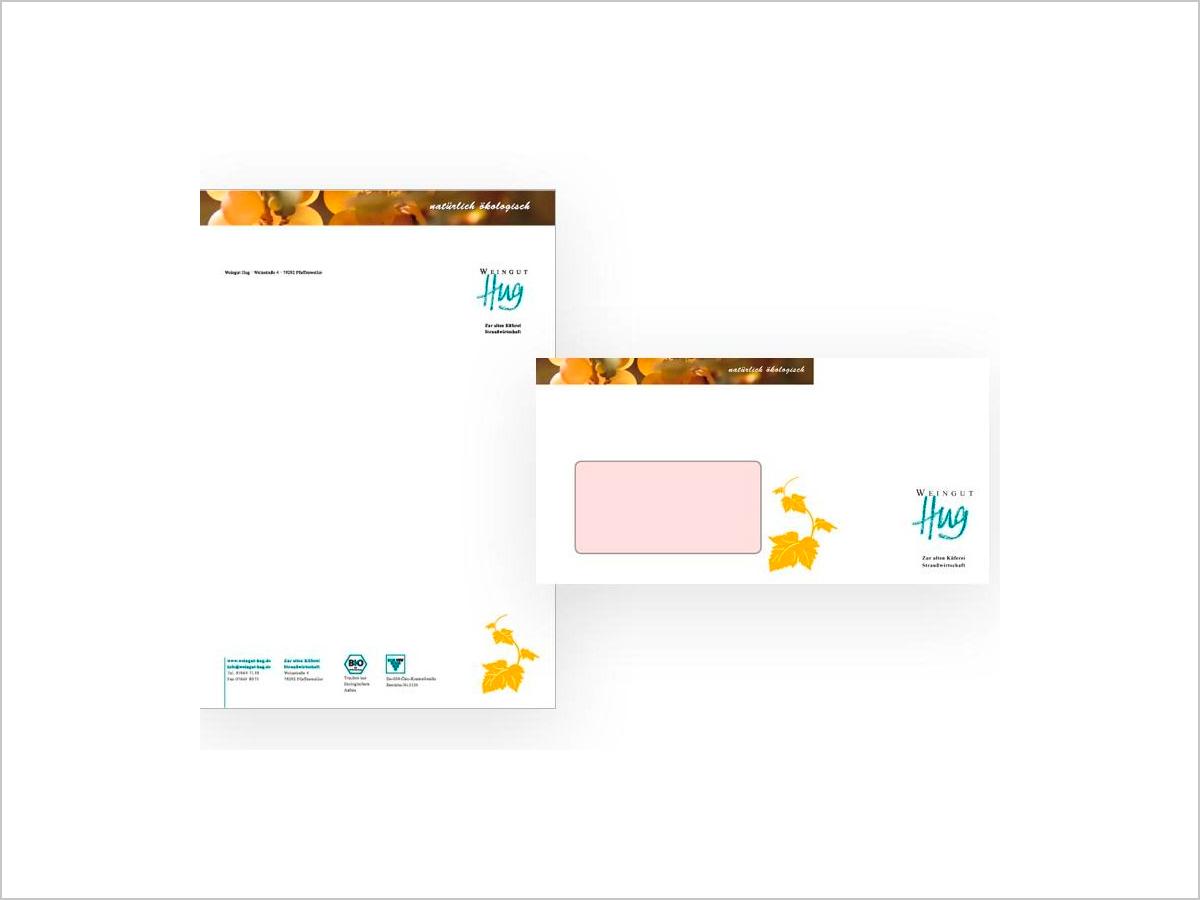 Grafikdesign - Briefbogen - Briefumschlag - Weingut Hug in Pfaffenweiler | © debeuf grafikdesign