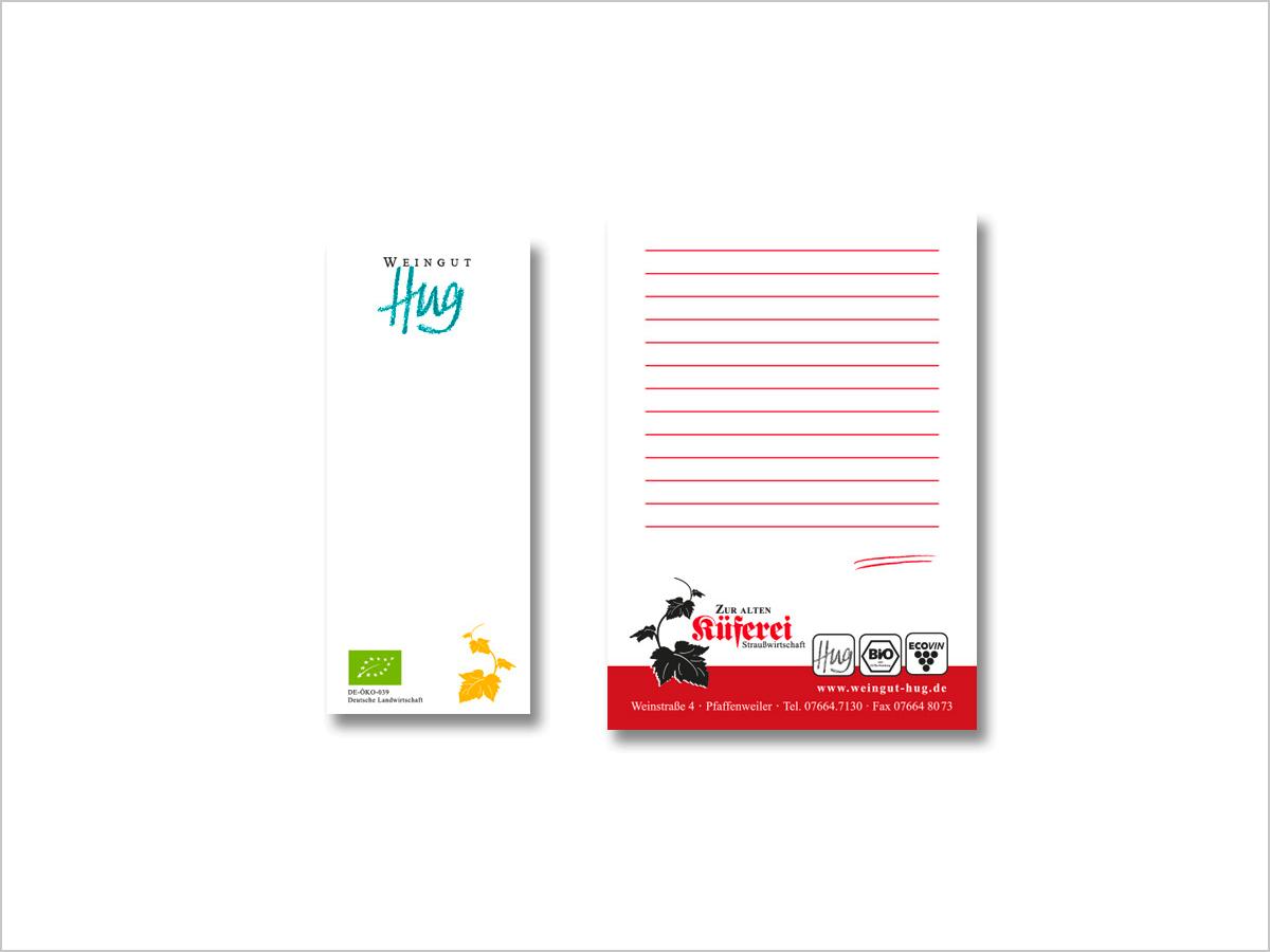 Grafikdesign | Notizblock | Weingut Hug & Straußwirtschaft 'Zur alten Küferei' in Pfaffenweiler | © debeuf grafikdesign