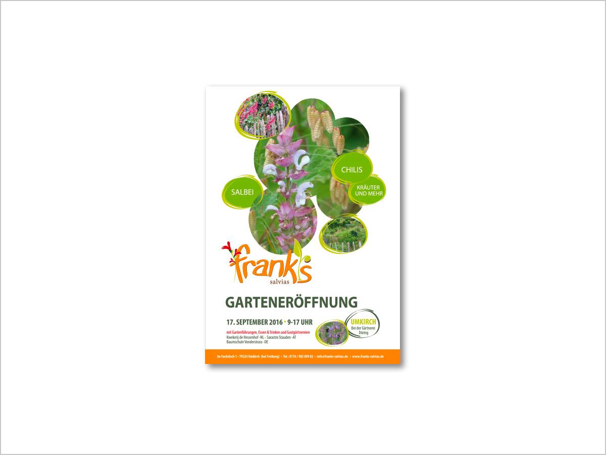 Grafikdesign | Plakat | Gärtnerei - Frank's Salvias in Umkirch bei Freiburg - Garten Eröffnung | © debeuf grafikdesign