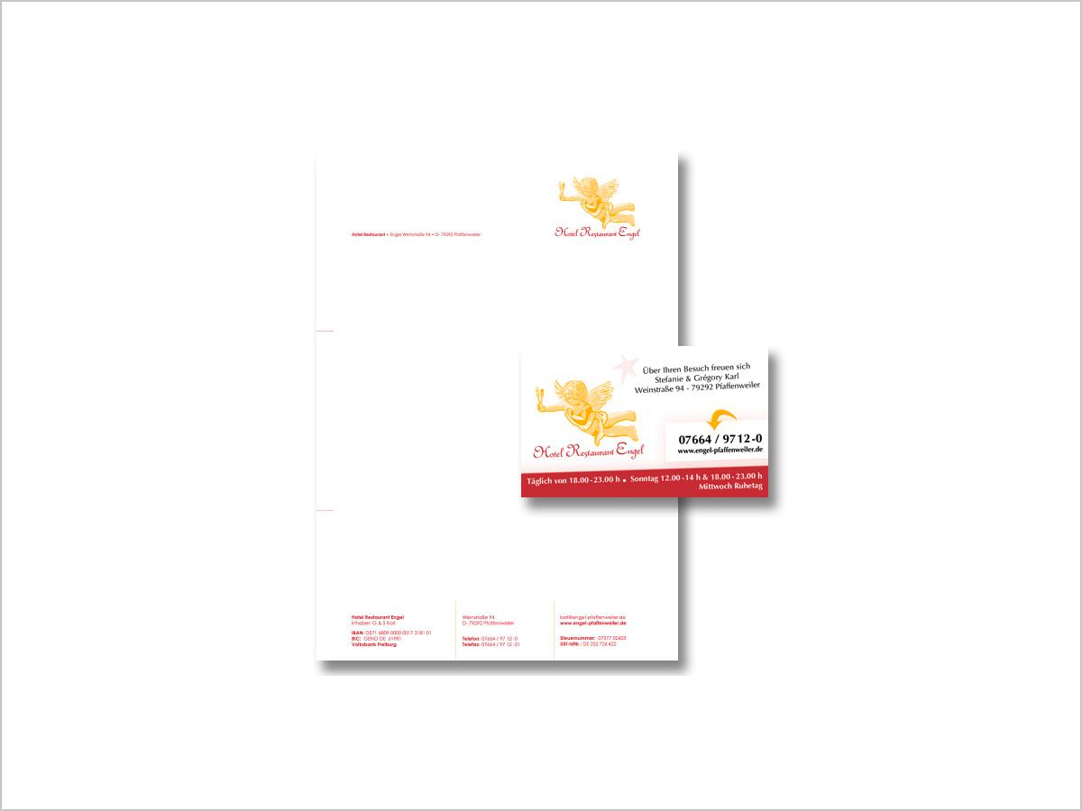 Design & Print | Briefpapier & Visitenkarte | Hotel-Restaurant Engel in Pfaffenweiler bei Freiburg i. Breisgau | © debeuf grafikdesign