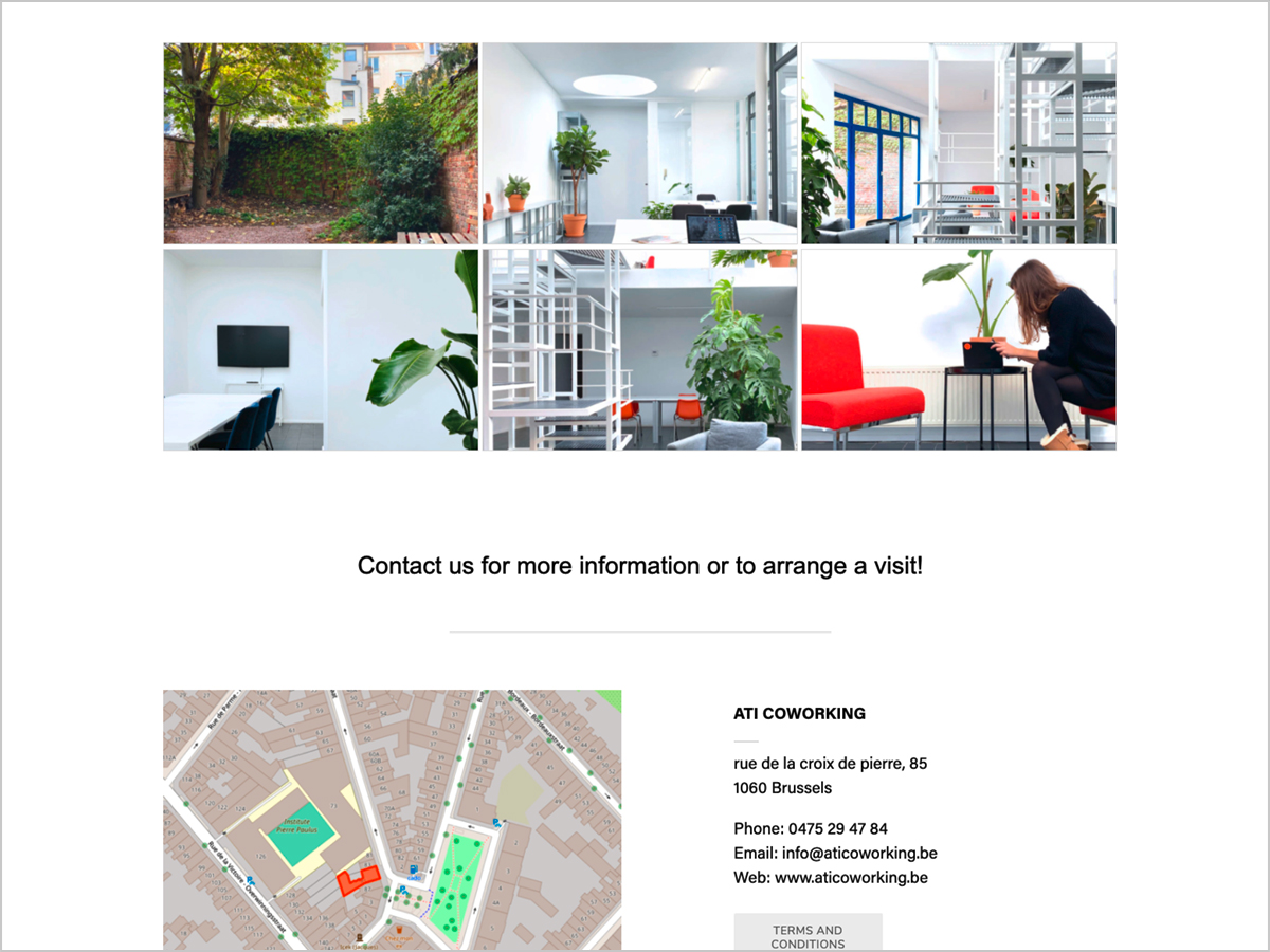 Webdesign - ATI Coworking Space à Bruxelles - Belgique   © debeuf grafikdesign