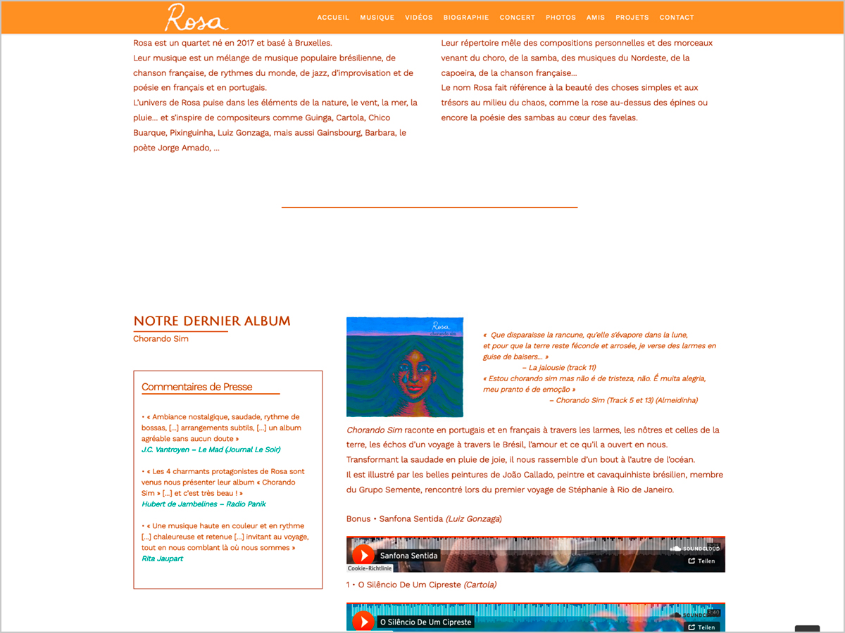 Webdesign - www.rosa4tet.com - Quartet Rosa - Bruxelles - Belgique