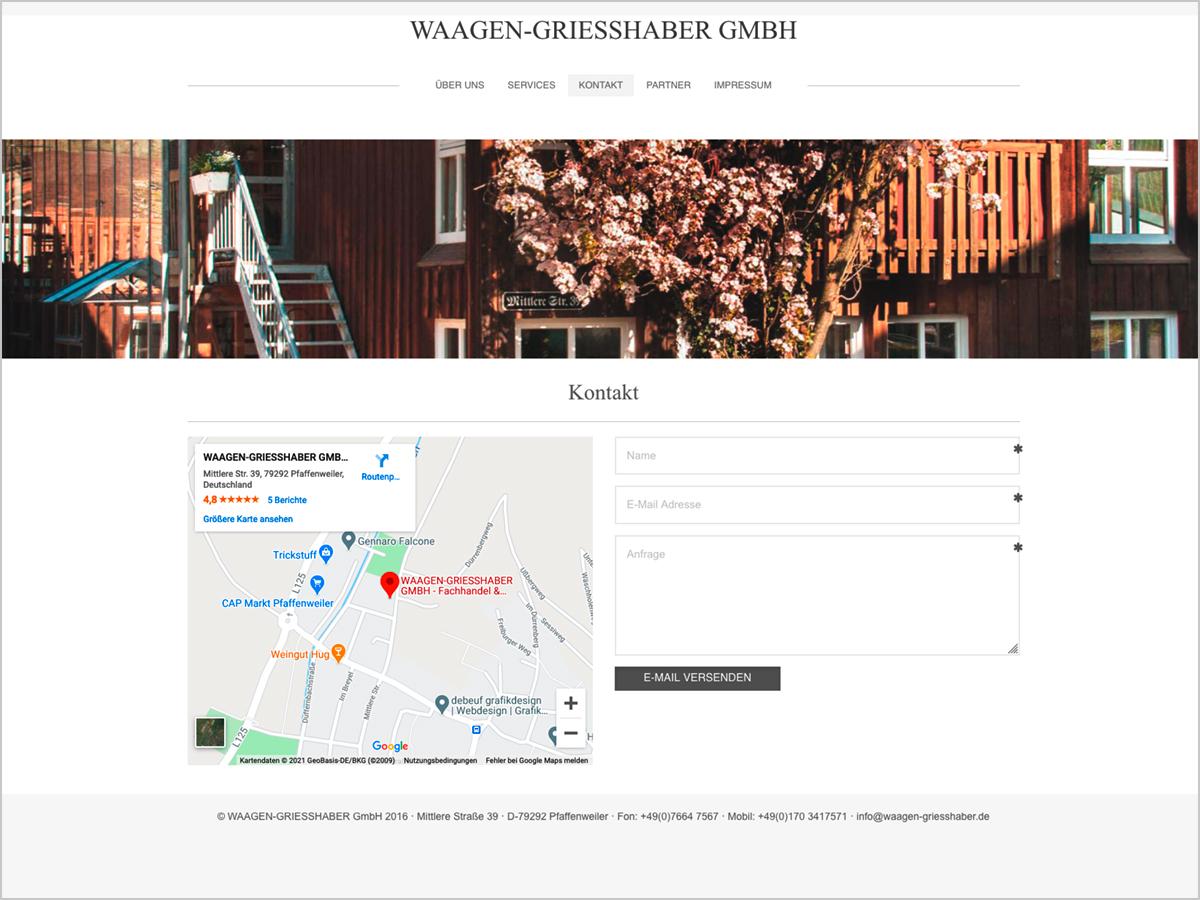 Webdesign - Waagen Griesshaber GmbH in Pfaffenweiler bei Freiburg im Breisgau